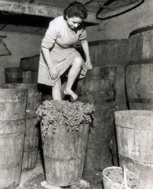 mulher pisando uvas